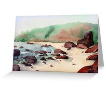 Tropical beach at sunset - nature background watercolor Greeting Card