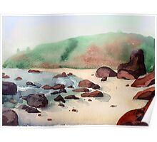 Tropical beach at sunset - nature background watercolor Poster