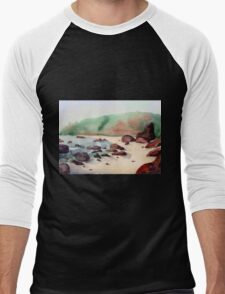 Tropical beach at sunset - nature background watercolor Men's Baseball ¾ T-Shirt