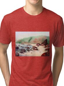 Tropical beach at sunset - nature background watercolor Tri-blend T-Shirt