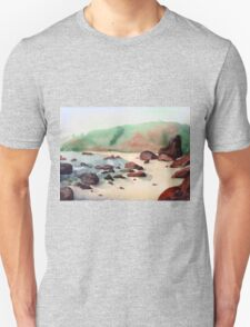 Tropical beach at sunset - nature background watercolor T-Shirt