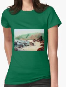 Tropical beach at sunset - nature background watercolor Womens Fitted T-Shirt