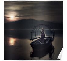 woman on fishing boat Poster