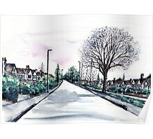 Quiet Road in Autumn, Watercolour Painting Poster