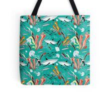 sea pattern with sharks Tote Bag