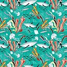 sea pattern with sharks by Tanor