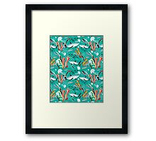 sea pattern with sharks Framed Print