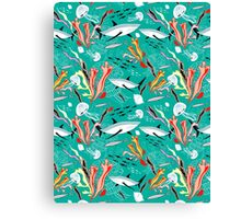 sea pattern with sharks Canvas Print