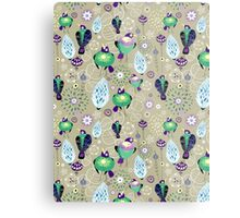 floral pattern with birds Metal Print
