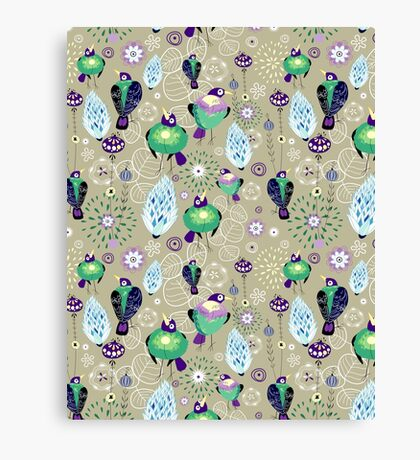 floral pattern with birds Canvas Print