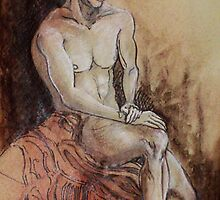 Renaissance Male Nude (Drawing)- by Robert Dye