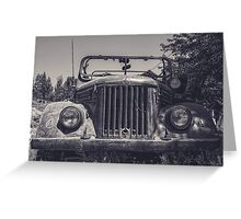 Tajik Jeep in Black and White Greeting Card