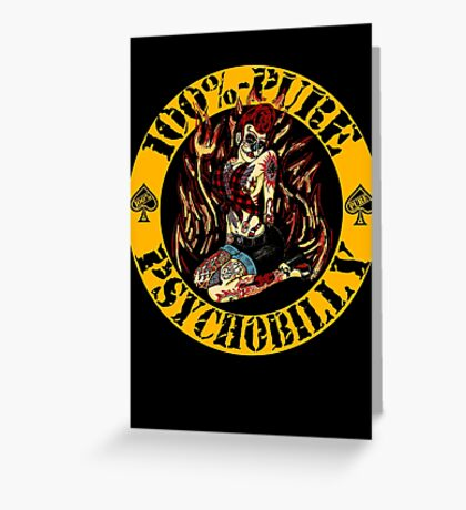 Psychobilly Girl - yellow Greeting Card