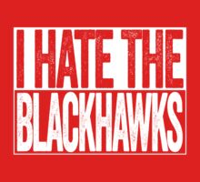 I Hate The Blackhawks - Detroit Red Wings T-Shirt - Show Your Team Spirit - White Box Design - Haters Gonna Hate by BeefShirts