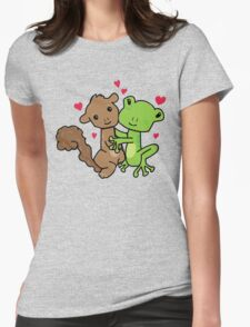 Frog and Squirrel Love Womens Fitted T-Shirt