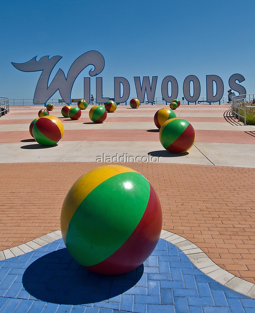 Wildwoods Sign on the Boardwalk in Wildwood New Jesery by aladdincolor