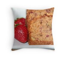 Strawberry Banana Bread Throw Pillow