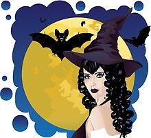 Witch and Bats 2 by AnnArtshock