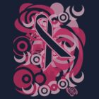 Negative Space Pink Ribbon Abstract Breast Cancer Awareness Tee by Greenbaby