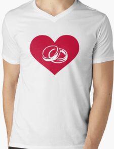 Red heart wedding rings Mens V-Neck T-Shirt