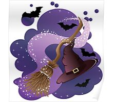 Witch broom and hat Poster