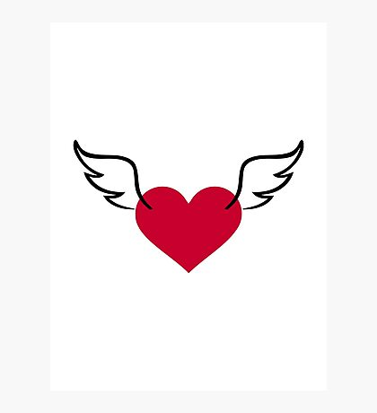Red heart wings Photographic Print