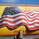 American Flag on Train. . .Union Pacific by Diane Trummer Sullivan