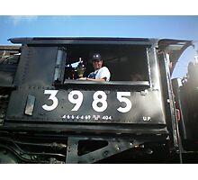 Train Engineer, 1943 Union Pacific Steam Engine Photographic Print