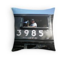 Train Engineer, 1943 Union Pacific Steam Engine Throw Pillow