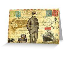 Travel diary man Greeting Card