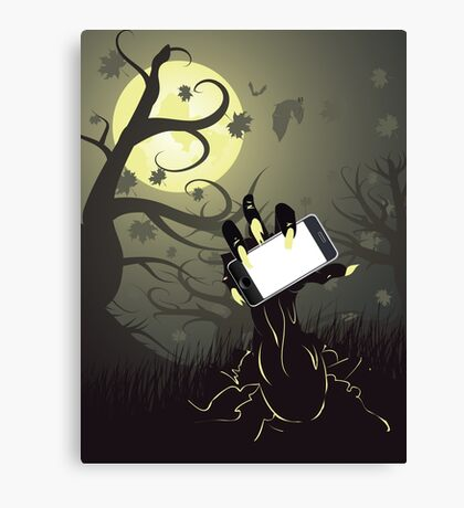 Zombie Hand with Phone Canvas Print