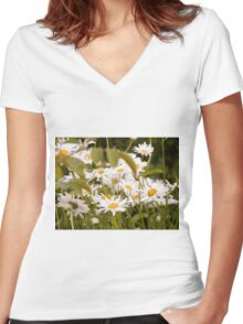 Summer Chamomiles 2 Women's Fitted V-Neck T-Shirt