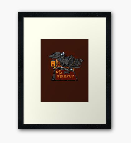 Ride the Firefly w/ Brown Background Framed Print
