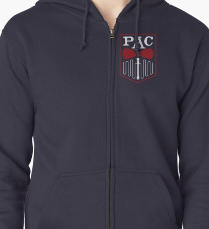 PAC Logo - Red and White (Small) Zipped Hoodie