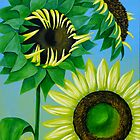 """Three Sunflowers"" original nature floral painting by Michael Arnold"