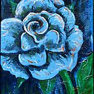 """Blue Rose"" original signed acrylic painting on canvas by Michael Arnold"