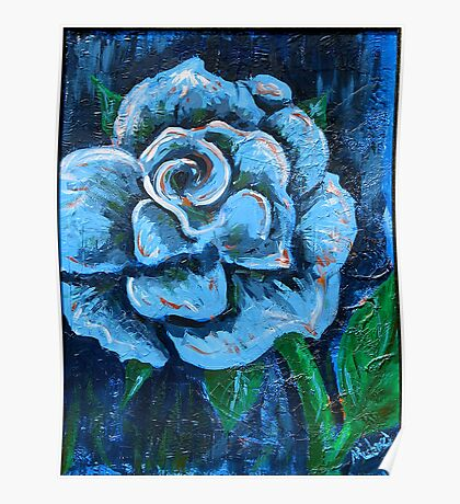 """""""Blue Rose"""" original signed acrylic painting on canvas Poster"""
