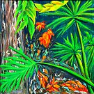 """Philodendrons"" original signed nature painting on canvas by Michael Arnold"