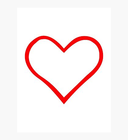 Red heart outline Photographic Print