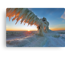 St. Joseph Lighthouse Winter Sunset Canvas Print