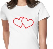 Red outline hearts Womens Fitted T-Shirt