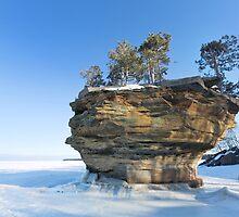 Turnip Rock in Winter - Port Austin Michigan by Craig Sterken
