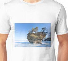 Turnip Rock in Winter - Port Austin Michigan Unisex T-Shirt