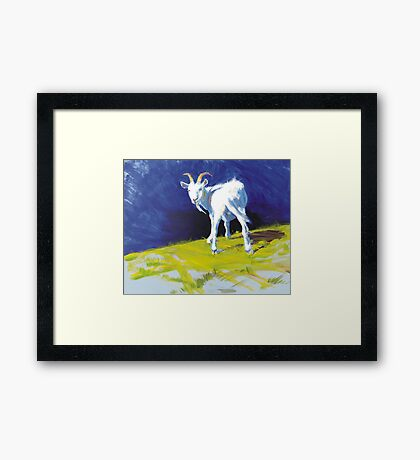 Strike A Pose - Amusing Acrylic Goat Painting Framed Print