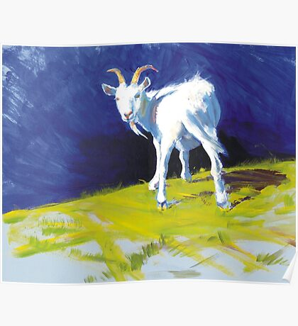 Strike A Pose - Amusing Acrylic Goat Painting Poster