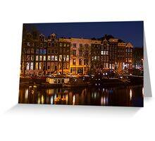 Night Lights on the Amsterdam Canals Greeting Card