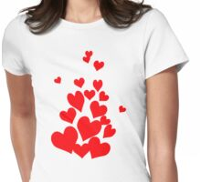 Red hearts Womens Fitted T-Shirt