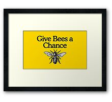 Give Bees A Chance Beekeeper Quote Design Framed Print