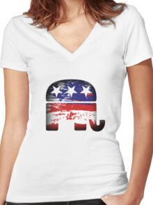 Republican Elephant Women's Fitted V-Neck T-Shirt