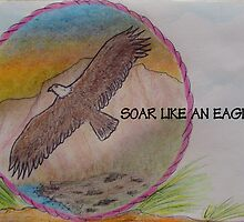 SOAR LIKE AN EAGLE - COLORED PENCIL DRAWING by librapat